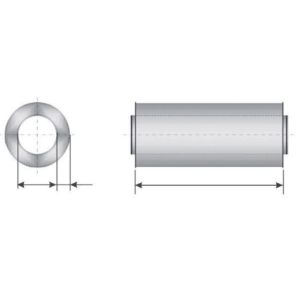 Atenuator zgomot D160, 50, 600mm, vata bazaltica, KMF